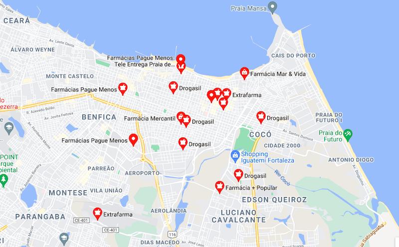 Farmácias 24h no centro de Fortaleza